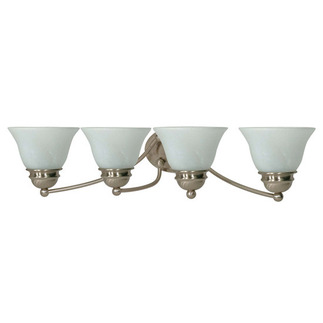 (4 CFL) Vanity - Brushed Nickel / Alabaster Glass - Energy Star Qualified - Nuvo Lighting 60-3207