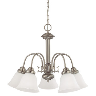 (5 Light) Chandelier - Brushed Nickel / Frosted White Glass - Nuvo Lighting 60-3240