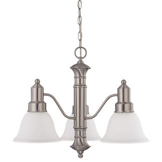 (3 Light) Chandelier - Brushed Nickel / Frosted White Glass - Nuvo Lighting 60-3243