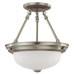 (2 Light) Semi-Flush Ceiling Fixture - Brushed Nickel / Frosted White Glass - Nuvo Lighting 60-3244 - Residential Light Fixture