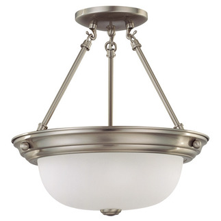 (2 Light) Semi-Flush Ceiling Fixture - Brushed Nickel / Frosted White Glass - Nuvo Lighting 60-3245