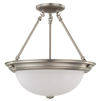(3 Light) Semi-Flush Ceiling Fixture - Brushed Nickel / Frosted White Glass - Nuvo Lighting 60-3246 - Residential Light Fixture