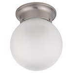 (1 Light) Ceiling Mount Ball Fixture - Brushed Nickel / Frosted White Glass - Nuvo Lighting 60-3249