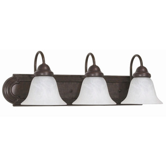 (3 Light) Vanity - Old Bronze / Alabaster Glass Bell - Nuvo Lighting 60-325 - Residential Light Fixture
