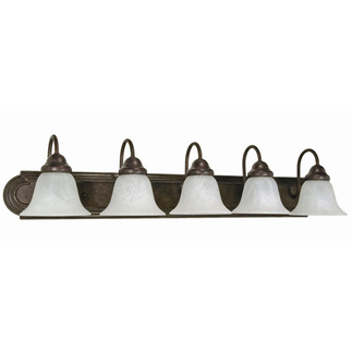 (5 Light) Vanity - Old Bronze / Alabaster Glass Bell - Nuvo Lighting 60-327