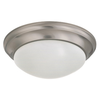 (2 Light) Flush Mount Ceiling Fixture - Twist & Lock - Brushed Nickel / Frosted White Glass - Nuvo Lighting 60-3272