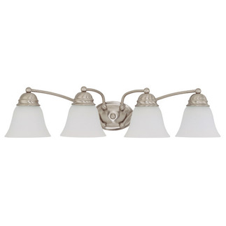 (4 Light) Vanity - Brushed Nickel / Frosted White Glass - Nuvo Lighting 60-3277 - residential