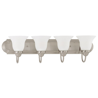 (4 Light) Vanity - Brushed Nickel / Frosted White Glass - Nuvo Lighting 60-3281