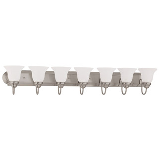 (7 Light) Vanity Brushed Nickel / Frosted White Glass - Nuvo Lighting 60-3283