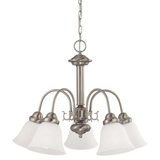 (5 CFL) Chandelier - Brushed Nickel / Frosted White Glass - Energy Star Qualified - Nuvo Lighting 60-3290 - Residential Light Fixture