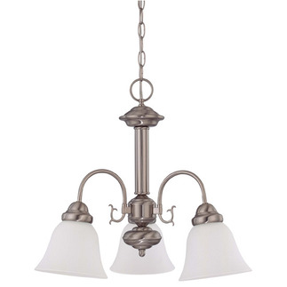 (3 CFL) Chandelier - Brushed Nickel / Frosted White Glass - Energy Star Qualified - Nuvo Lighting 60-3291 - Residential Light Fixture