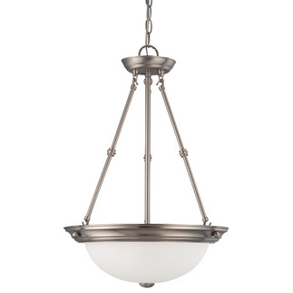 (3 CFL) Pendant - Brushed Nickel / Frosted White Glass - Energy Star Qualified - Nuvo Lighting 60-3297