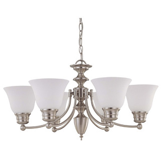 (6 CFL) Chandelier - Brushed Nickel / Frosted White Glass - Energy Star Qualified - Nuvo Lighting 60-3305