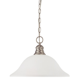 (1 CFL) Pendant - Brushed Nickel / Frosted White Glass - Energy Star Qualified - Nuvo Lighting 60-3308