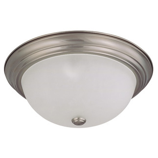 (3 CFL) Flush Mount Ceiling Fixture - Brushed Nickel / Frosted White Glass - Energy Star Qualified - Nuvo Lighting 60-3313 - Residential Light Fixture