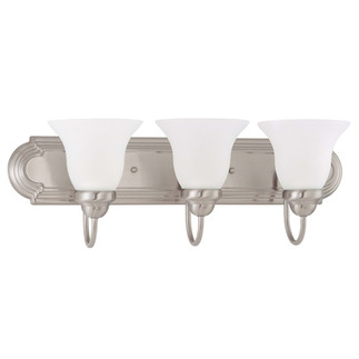 (3 CFL) Vanity - Brushed Nickel / Frosted White Glass - Energy Star Qualified - Nuvo Lighting 60-3323