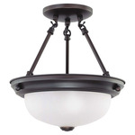(2 CFL) Semi-Flush Ceiling Fixture - Mohogany Bronze / Frosted White Glass - Energy Star Qualified - Nuvo Lighting 60-3338