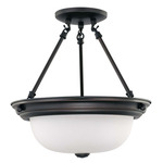 (2 CFL) Semi-Flush Ceiling Fixture - Mohogany Bronze / Frosted White Glass - Energy Star Qualified - Nuvo Lighting 60-3339