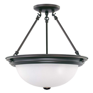 (3 CFL) Semi-Flush Ceiling Fixture - Mohogany Bronze / Frosted White Glass - Energy Star Qualified - Nuvo Lighting 60-3341