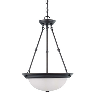 (3 CFL) Pendant - Mahogany Bronze / Frosted White Glass - Energy Star Qualified - Nuvo Lighting 60-3342