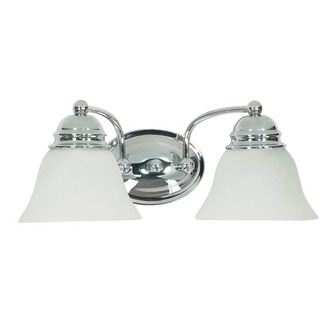 (2 Light) Vanity - Polished Chrome / Alabaster Glass Bell - Nuvo Lighting 60-337