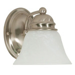 (1 Light) Vanity - Brushed Nickel / Alabaster Glass Bell - Nuvo Lighting 60-340