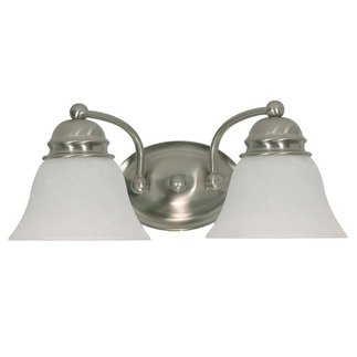 (2 Light) Vanity - Brushed Nickel / Alabaster Glass Bell - Nuvo Lighting 60-341