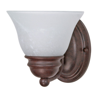 (1 Light) Vanity - Old Bronze / Alabaster Glass Bell - Nuvo Lighting 60-344 - Residential Light Fixture