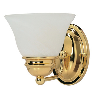 (1 Light) Vanity - Polished Brass / Alabaster Glass Bell - Nuvo Lighting 60-348