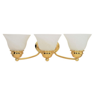(3 Light) Vanity - Polished Brass / Alabaster Glass Bell - Nuvo Lighting 60-350