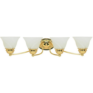 (4 Light) Vanity - Polished Brass / Alabaster Glass Bell - Nuvo Lighting 60-351