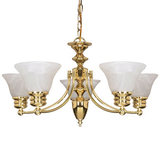 (6 Light) Chandelier - Polished Brass / Alabaster Glass Bell Shades - Nuvo Lighting 60-357