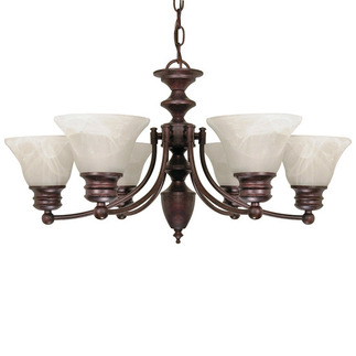 (6 Light) Chandelier - Old Bronze / Alabaster Glass Bell Shades - Nuvo Lighting 60-358