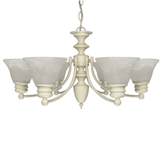 (6 Light) Chandelier - Textured White / Alabaster Glass Bell Shades - Nuvo Lighting 60-359 - Residential Light Fixture