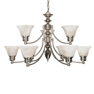 (9 Light) (2 Tier) Chandelier - Brushed Nickel / Alabaster Glass Bell Shades - Nuvo Lighting 60-360