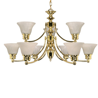 (9 Light) (2 Tier) Chandelier - Polished Brass / Alabaster Glass Bell Shades - Nuvo Lighting 60-361