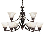 (9 Light) (2 Tier) Chandelier - Old Bronze / Alabaster Glass Bell Shades - Nuvo Lighting 60-362 - Residential Light Fixture