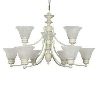 (9 Light) (2 Tier) Chandelier - Textured White / Alabaster Glass Bell Shades - Nuvo Lighting 60-363