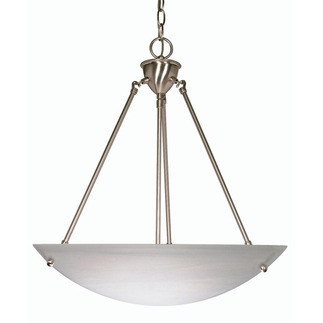 (3 Light) Pendan - Brushed Nickel / Alabaster Glass Bowl - Nuvo Lighting 60-370