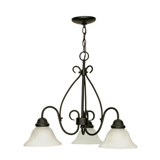(3 Light) Chandelier - Textured Black / Alabaster Swirl Glass - Nuvo Lighting 60-378