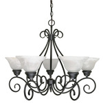 (5 Light) Chandelier - Textured Black / Alabaster Swirl Glass - Nuvo Lighting 60-380