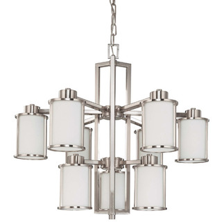(9 CFL) Chandelier - Brushed Nickel / White Glass - Energy Star Qualified - Nuvo Lighting 60-3809