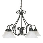 (5 Light) Chandelier - Textured Black / Alabaster Swirl Glass - Nuvo Lighting 60-381 - Residential Light Fixture