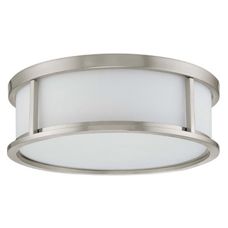 (3 CFL) Flush Mount Ceiling Fixture - Brushed Nickel / White Glass - Energy Star Qualified - Nuvo Lighting 60-3812