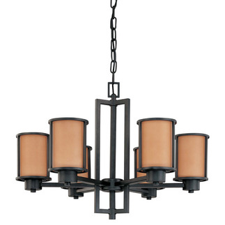 (6 CFL) Chandelier - Aged Bronze / Parchment Glass - Energy Star Qualified - Nuvo Lighting 60-3826