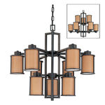 Nuvo 60-3829 (9 CFL) Chandelier - Aged Bronze/Parchment Glass - Energy Star Qualified