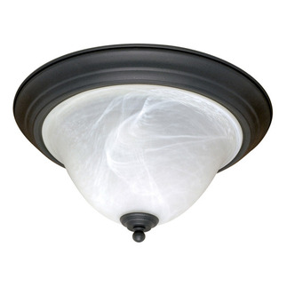 (2 Light) Flush Mount Ceiling Fixture - Textured Black / Alabaster Swirl Glass - Nuvo Lighting 60-383 - Residential Light Fixture - Ceiling