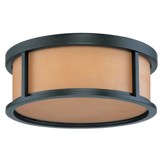 (3 CFL) Flush Mount Ceiling Fixture - Aged Bronze / Parchment Glass - Energy Star Qualified - Nuvo Lighting 60-3833