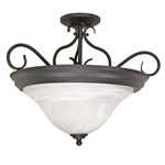 (3 Light) Semi-Flush Ceiling Fixture - Textured Black / Alabaster Swirl Glass - Nuvo Lighting 60-384 - Residential Light Fixture