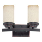 (2 CFL) Vanity - Patina Bronze / Saddle Stone Glass - Energy Star Qualified - Nuvo Lighting 60-3842 - Residential Light Fixture